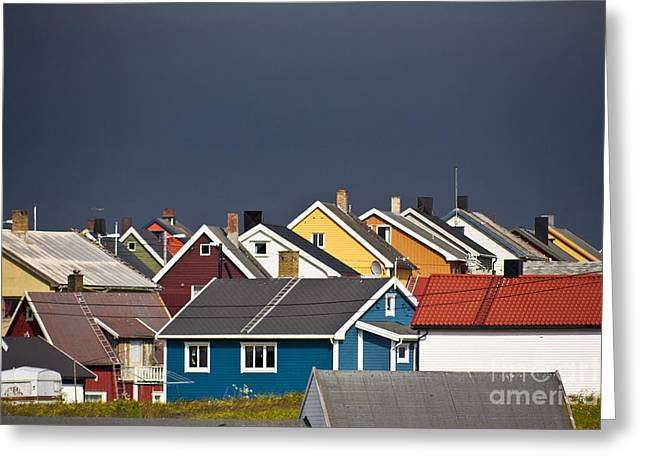 Small Fishing Village Greeting Cards - Colorful Vardoe Greeting Card by Heiko Koehrer-Wagner