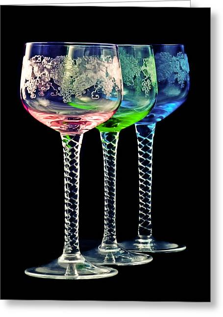 Alcohol Greeting Cards - Colorful wine glasses Greeting Card by Gert Lavsen