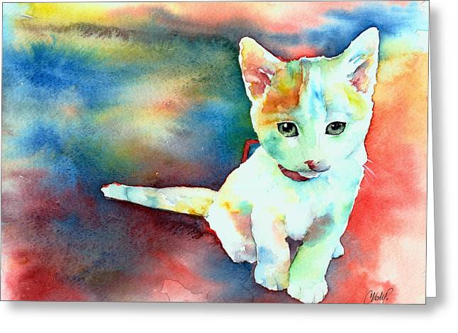 Animal Rescue Greeting Cards - Colorfull Kitty Greeting Card by Christy  Freeman
