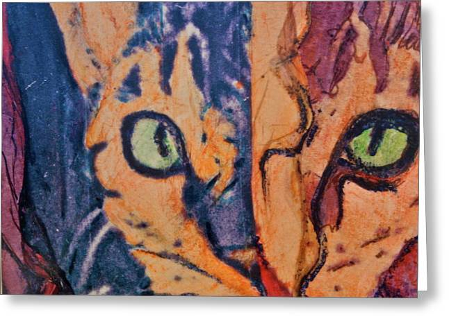 Colors of a Cat Greeting Card by Ruth Edward Anderson