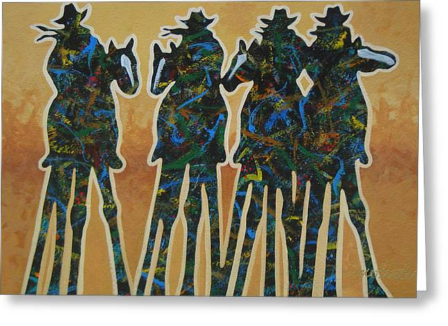 Cowgirl Greeting Cards - Colors Of Four Greeting Card by Lance Headlee