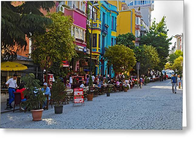 Colors Of Istanbul Street Life Greeting Card by Kantilal Patel