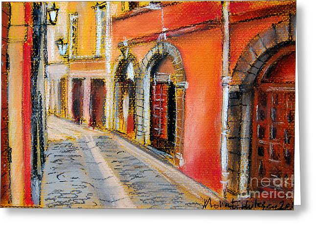 Red Buildings Pastels Greeting Cards - Colors Of Lyon 4 Greeting Card by Mona Edulesco