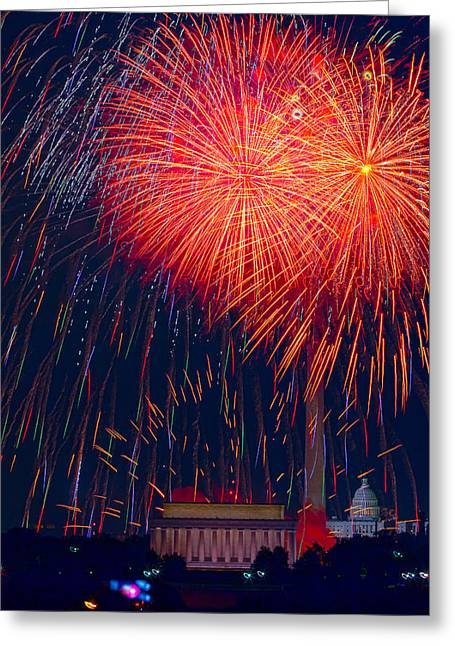 4th July Photographs Greeting Cards - Colors over the Capital Greeting Card by David Hahn