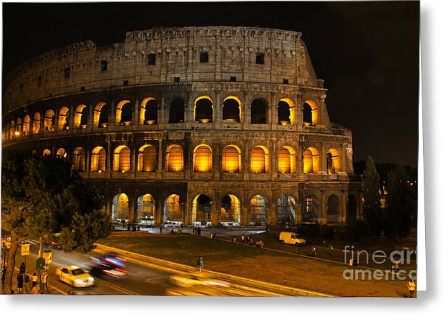 Chris Hill Greeting Cards - Colosseum by Night Greeting Card by Chris Hill