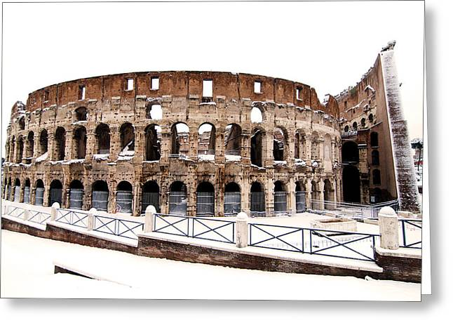 Snowstorm Greeting Cards - Colosseum Greeting Card by Fabrizio Troiani
