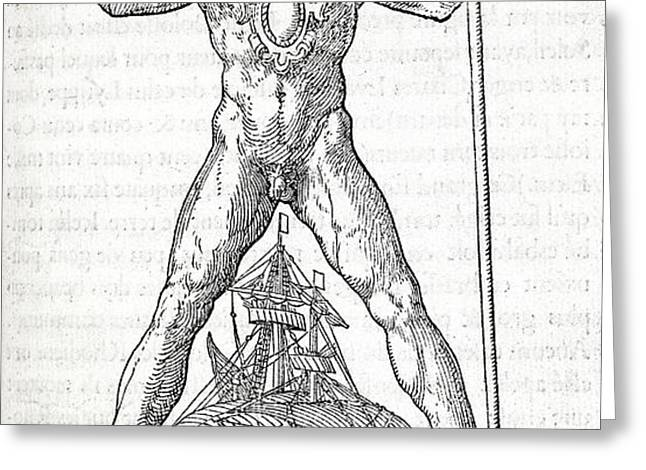 Colossus Of Rhodes, 16th Century Artwork Greeting Card by Middle Temple Library