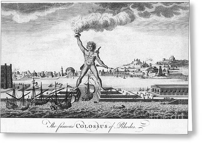 Helios Greeting Cards - Colossus Of Rhodes Greeting Card by Granger