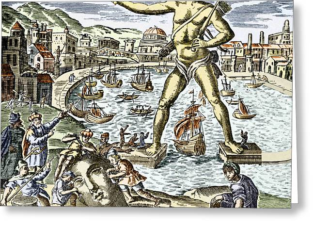 Historical Pictures Greeting Cards - Colossus Of Rhodes Statue Greeting Card by Sheila Terry