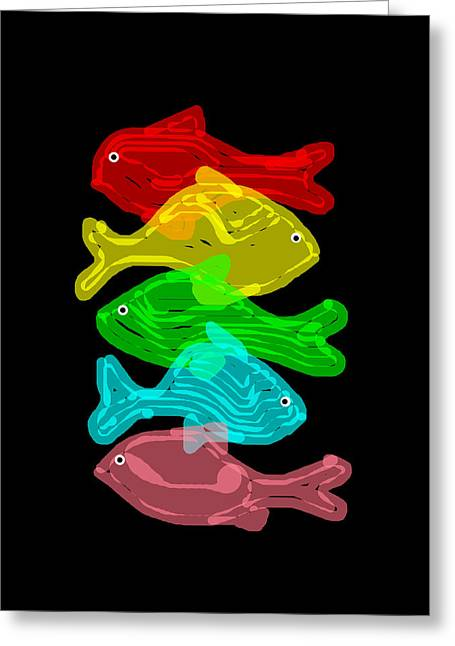 James Hill Greeting Cards - Coloured Fishes Greeting Card by James Hill