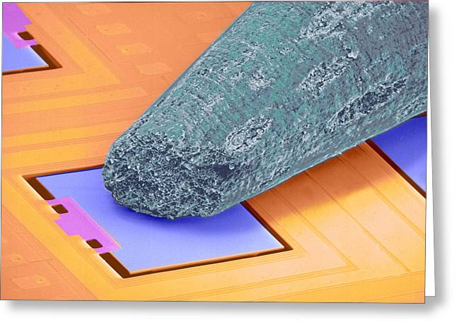 Sensors Greeting Cards - Coloured Sem Of Micro-accelerometer And Pencil Tip Greeting Card by Volker Steger