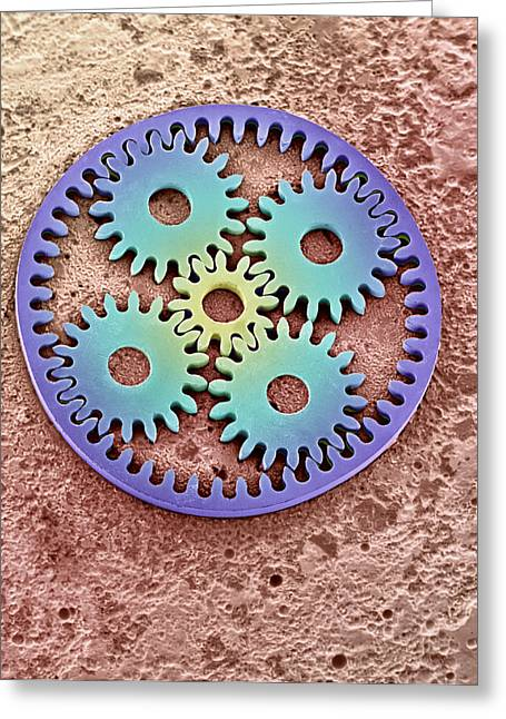 Micromechanics Greeting Cards - Coloured Sem Of Microcogs Greeting Card by David Parker