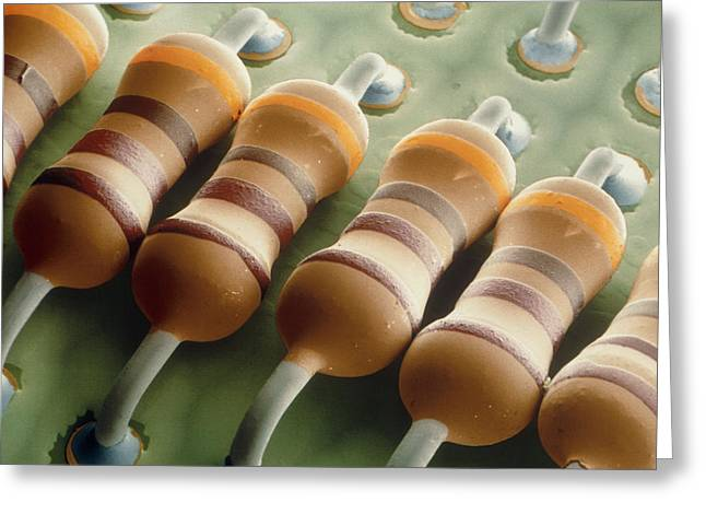 Coloured Sem Of Resistors On A Circuit Board Greeting Card by Power And Syred