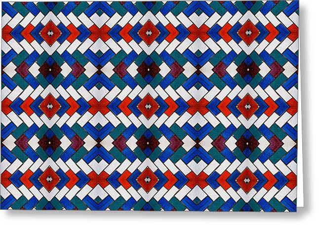 Colourful Tile Symmetry Greeting Card by Hakon Soreide