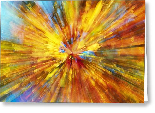 Kaleidoscope Effect Greeting Cards - Colourful Zoom Blur Greeting Card by Natural Selection Craig Tuttle