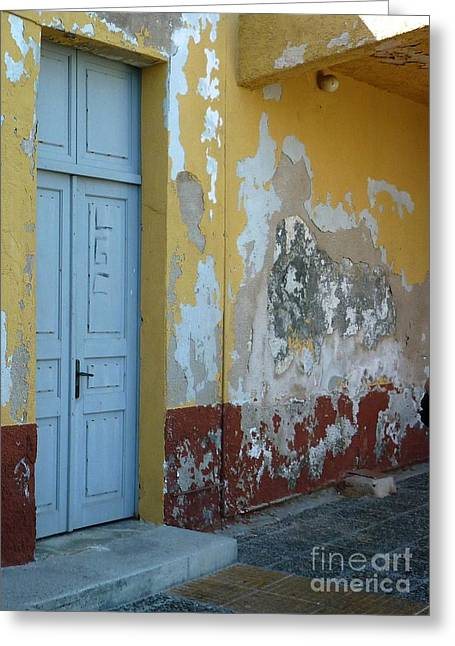 Door Greeting Cards - Colours of Greece Greeting Card by Therese Alcorn