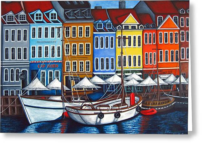 Harbor Paintings Greeting Cards - Colours of Nyhavn Greeting Card by Lisa  Lorenz