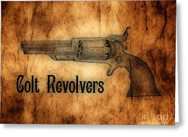 The American Buffalo Greeting Cards - Colt Revolvers Greeting Card by Cheryl Young