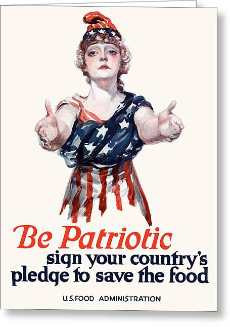 Uncle Sam Greeting Cards - Columbia Invites You To Save Food Greeting Card by War Is Hell Store