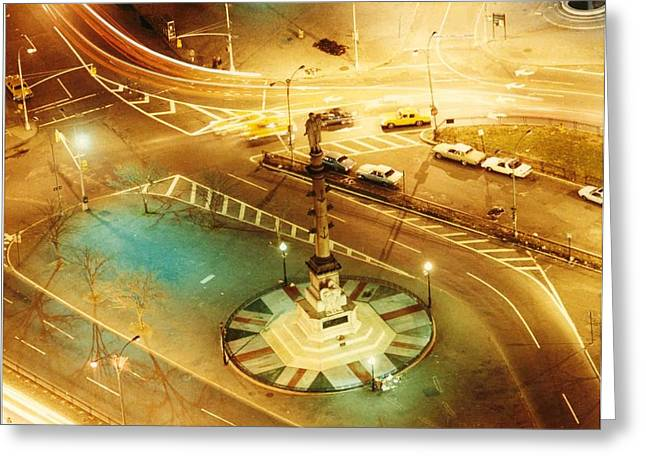 Warner Park Greeting Cards - Columbus Circle Greeting Card by Don Youngclaus