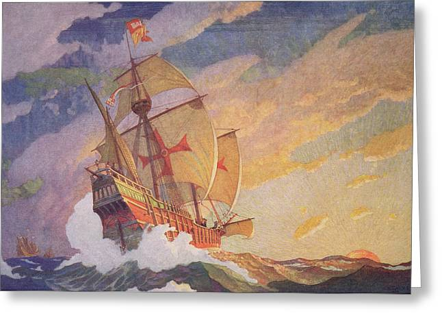 Columbus Greeting Cards - Columbus Crossing the Atlantic Greeting Card by Newell Convers Wyeth