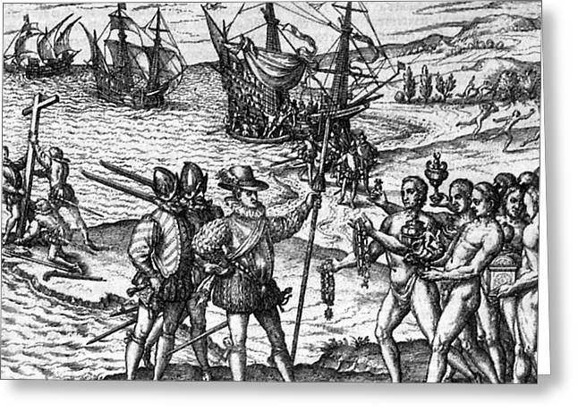 Hispaniola Greeting Cards - Columbus In Hispaniola, 1492 Greeting Card by Photo Researchers