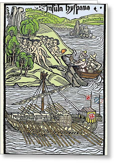Hispaniola Greeting Cards - Columbus Landing At Hispaniola Greeting Card by Sheila Terry
