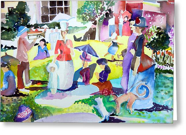 Seurat Drawings Greeting Cards - Columbus Ohio Topiary Comes Alive Greeting Card by Mindy Newman