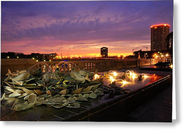 Streams Pyrography Greeting Cards - Columbus Scioto mile II Greeting Card by Dick Wood