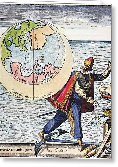 German Map Greeting Cards - Columbus: Tribute, 1621 Greeting Card by Granger