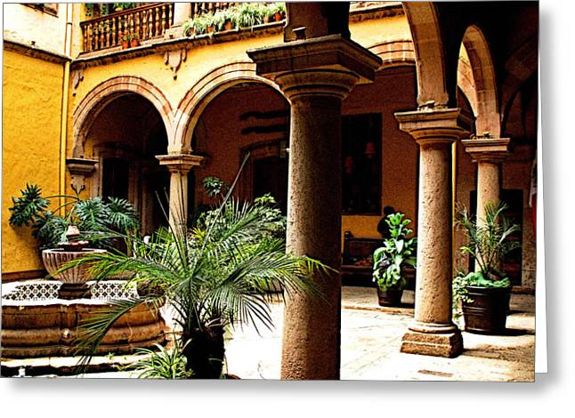 Columns and Courtyard Greeting Card by Olden Mexico