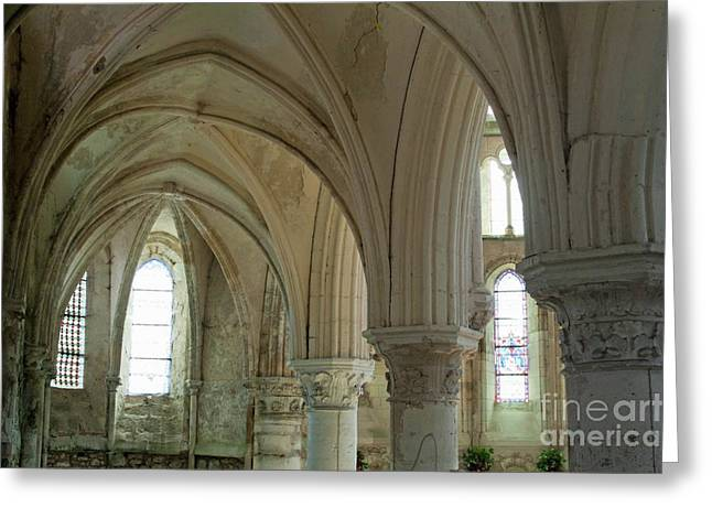 Sommes Greeting Cards - Columns and rib vaulting inside La Chapelle Church Greeting Card by Sami Sarkis