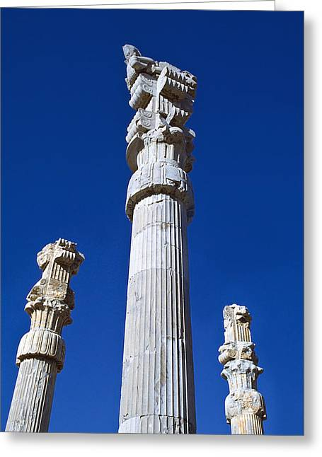 Xerxes Greeting Cards - Columns Of  Xerxes Gateway Greeting Card by Axiom Photographic