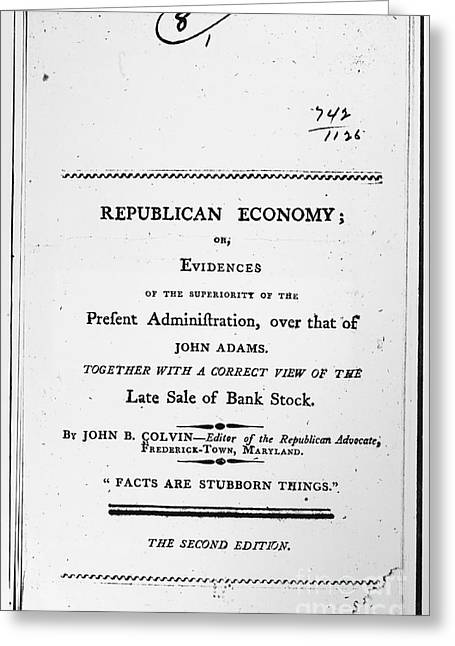 Book Title Greeting Cards - Colvin: Republican Economy Greeting Card by Granger