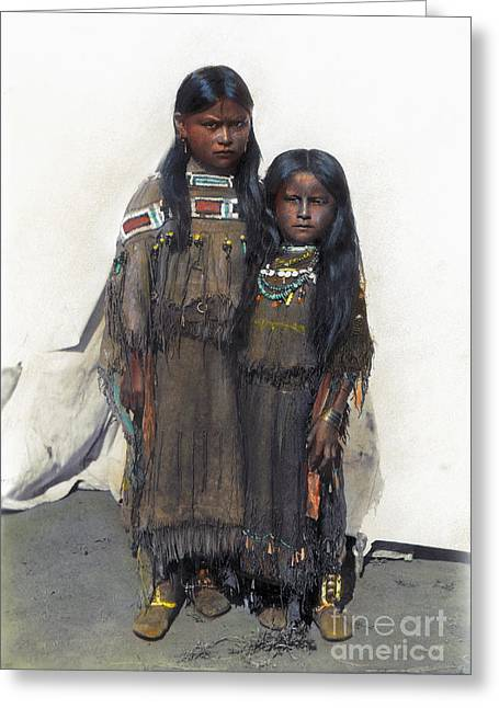 Cynthia Parker Greeting Cards - Comanche Girls, 1892 Greeting Card by Granger