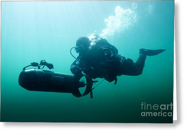 Undersea Photography Greeting Cards - Combat Diver Navigates The Waters Using Greeting Card by Tom Weber