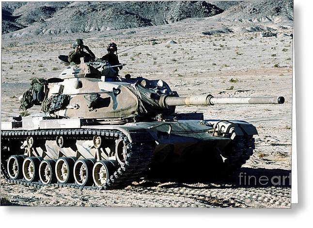 M60 Patton Tank Greeting Cards - Combat Ready Marines Approach An Enemy Greeting Card by Stocktrek Images