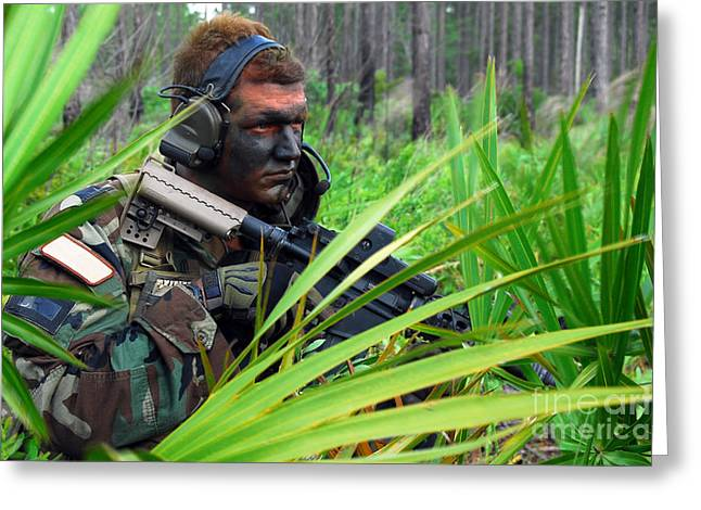 Jungle Warfare Greeting Cards - Combat Rescue Officer Secures Greeting Card by Stocktrek Images