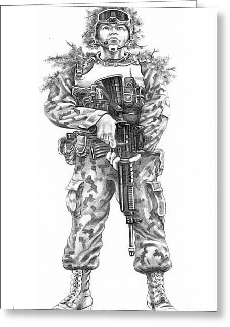 Gi Drawings Greeting Cards - Combat Soldier Greeting Card by Murphy Elliott