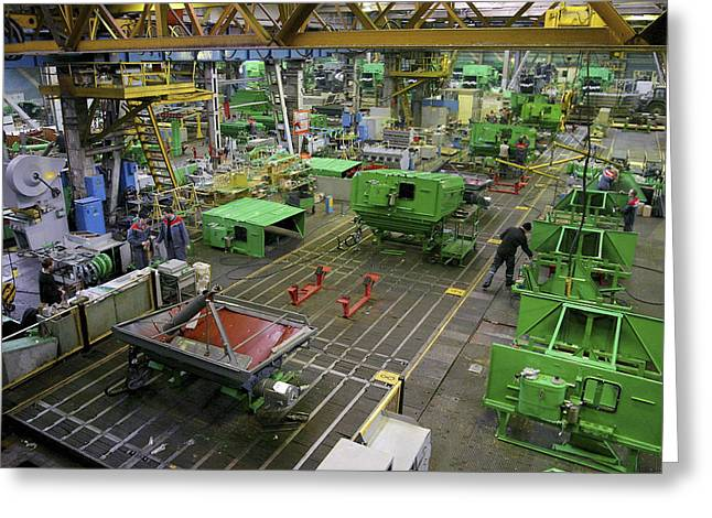 Production Line Greeting Cards - Combine Harvester Production Line Greeting Card by Ria Novosti