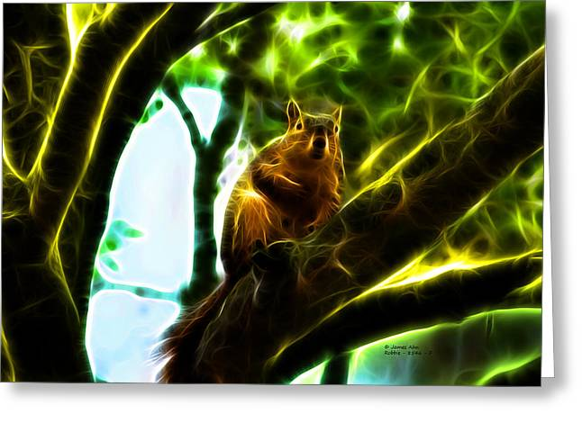 Fox Squirrel Mixed Media Greeting Cards - Come On Up - Fractal - Robbie the Squirrel Greeting Card by James Ahn