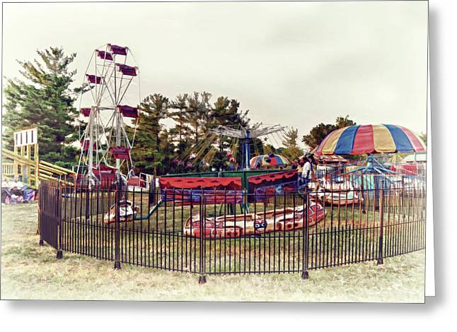 Kiddie Rides Greeting Cards - Come One Come All Greeting Card by Kathy Jennings