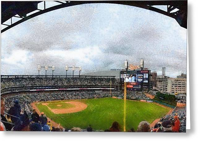 The Tiger Greeting Cards - Comerica Park Home of the Detroit Tigers Greeting Card by Michelle Calkins