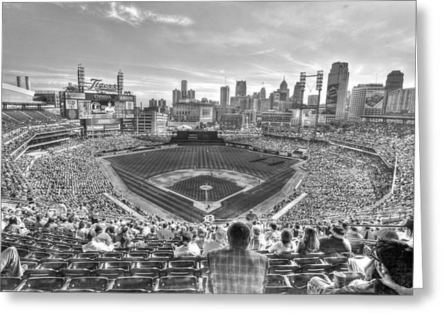 Fox Baseball Greeting Cards - Comerica Park Greeting Card by Nicholas  Grunas