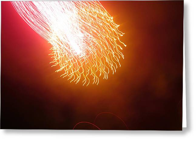 Pyrotechnics Greeting Cards - Comet Greeting Card by Abi Grace Bartlett