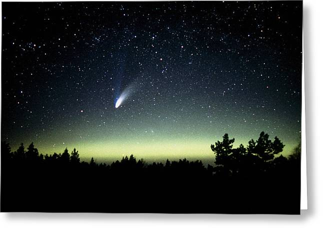 Hale-bopp Comet Greeting Cards - Comet Hale-bopp And Aurora Borealis, 30 March 1997 Greeting Card by Pekka Parviainen