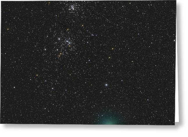 Double Cluster Greeting Cards - Comet Hartley 2 And The Double Cluster Greeting Card by Rolf Geissinger
