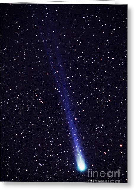 Comet Hyakutake Greeting Card by Jerry Schad and Photo Researchers