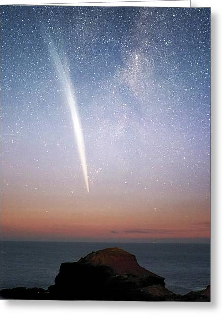 Comet Greeting Cards - Comet Lovejoy At Dawn Greeting Card by Alex Cherney, Terrastro.com