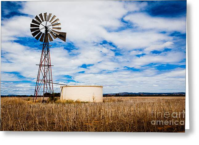 Comet Windmill And Clouds Greeting Card by John Buxton